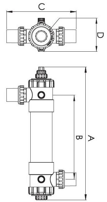 Размеры ультрафиолетовой установки
